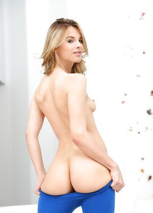 Blonde babe Jillian Janson exposing nice breasts and phat ass