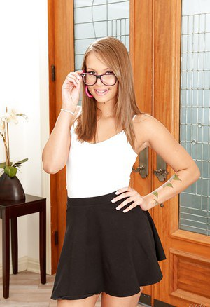 Glasses attired babe Liza Rowe exposing small perky teen tits and nipples
