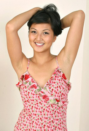Amateur Asian model Sable loosing firm teen breasts from summer dress
