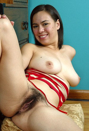 Asian first timer Lin sliding panties aside to demonstrate hairy cooter