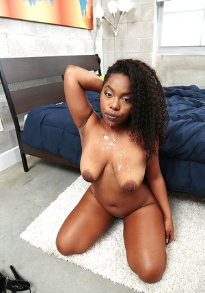 Black girl Finesse taking cumshot on large boobs after deepthroat blowjob