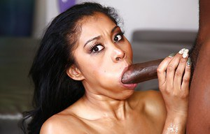 Ghetto chick with pierced nipples has huge black dick forced down throat
