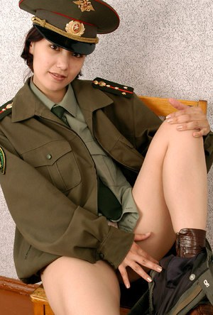 Korean amateur Elena stripping off military uniform to pose nude