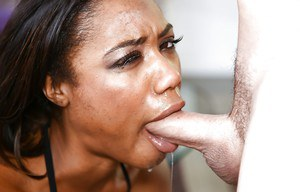 Clothed ghetto ho Chanell Heart delivering messy deepthroat blowjob