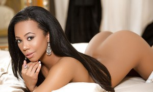 Black dime Hope Alina frees tits and ass from lingerie for centerfold shoot