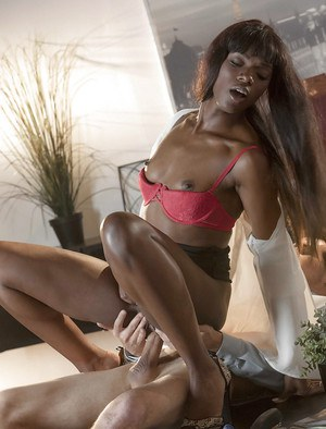 Hot black girl Ana Foxxx riding white co-worker's dick during office fuck