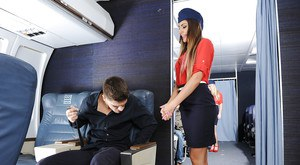 Pornstar August Ames taking cumshot on nice ass in stewardess uniform