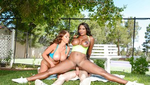 Busty MILFs Nikki Benz and Diamond Jackson having interracial 3some outside