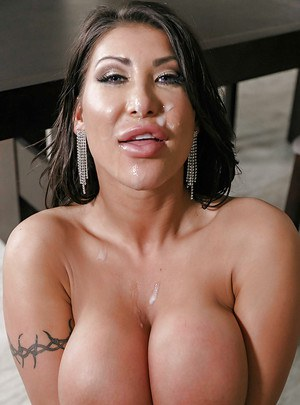Busty Asian wife August Taylor taking jizz on face after fucking large cock