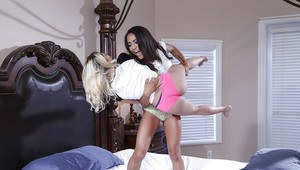 Black and white teens Marsha May and Nicole Bexley fuck big dick in 3some