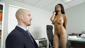 Black chick Brittney White showing off big natural boobs in glasses to boss