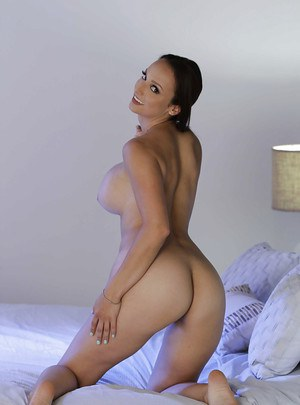 Beautiful MILF wife Lexi Luna shedding lingerie to display naked big butt