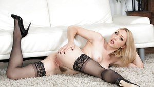 Sexy blonde wife Lily Labeau loosing small boobs from sexy lingerie