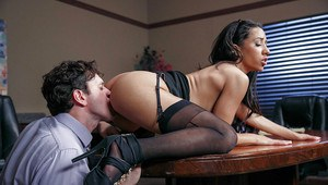 Ebony office worker Priya Price giving BJ on knees in skirt and stockings