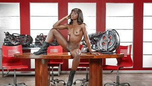 Ebony dime Ana Foxxx exposing tiny boobs and spread cunt in boots