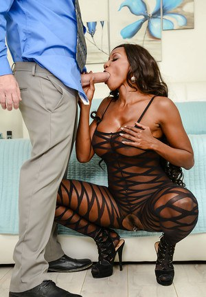 Black MILF pornstar Diamond Jackson banging big cock in sexy bodystocking