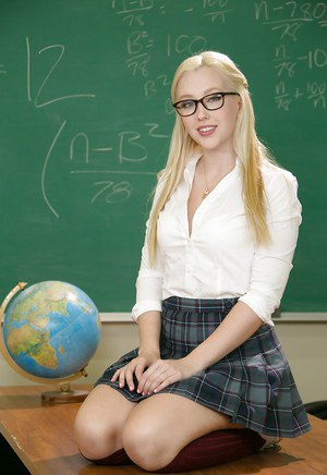 Blonde schoolgirl Samantha Rone slipping panties over tight ass in glasses