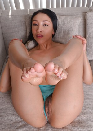 Asian solo girl Vicki Chase sliding panties aside and exposing clitoris