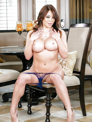 Clothed Asian MILF Mia Lelani revealing big tits and sexy ass in high heels