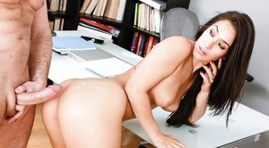Asian brunette Eva Lovia offering juicy butt for office banging in boots