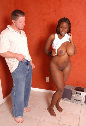 Thick black lady Diva unveiling massive boobs and big booty for white dude