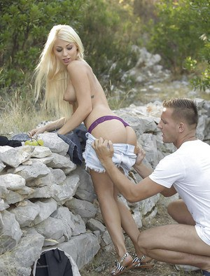 Busty Euro girl Chloe Lacourt giving BJ outdoors before anal penetration