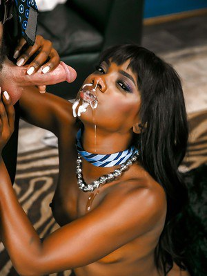 Black chick Ana Foxxx riding large cock in stockings before facial cumshot