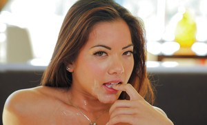 Sexy Asian chick Morgan Lee receiving mouthful of sperm after hardcore fuck