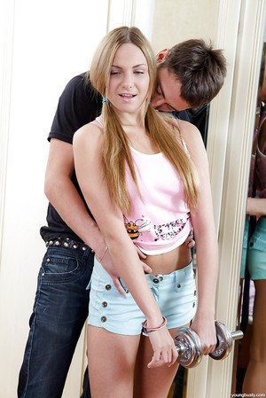 Busty teen girl Amy K eating jizz after fucking her boyfriend in pigtails