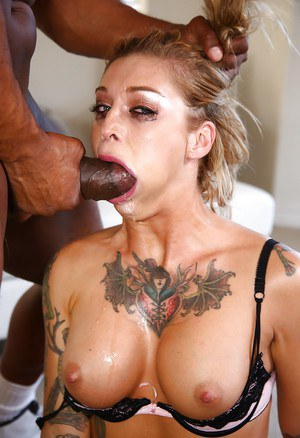 Dirty blonde chick Kleio Valentine face fucked by BBC during rough sex