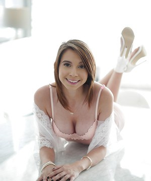 Pornstar Cece Capella showing off naked pussy in mirror after panty removal