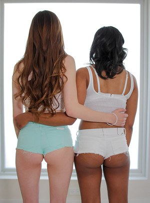 Teen girls Natalie Hawke and Alex Mae undress for interracial lesbo humping