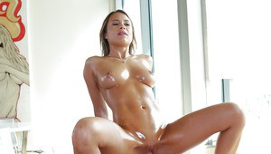 Oiled and busty chick Kendall Kayden fucking big cock before jizz facial