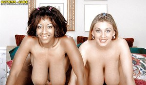 Big titted pornstar Autumn Jade and black gf engage in interracial lesbo sex