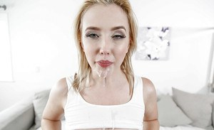 Blonde pornstar Samantha Rone sporting mouthful of sperm after banging dick