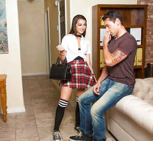 Brunette chick Lily Adams giving blowjob in over the knee socks