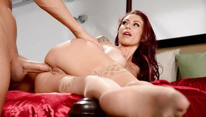 Tattooed wife Monique Alexander getting butt fucked by big cock in tan nylons