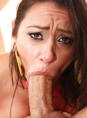 Brunette Latina Charley Chase gagging on cock during deepthroat blowjob