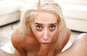 Blonde slut Cadence Lux getting deepthroated during rough face fucking