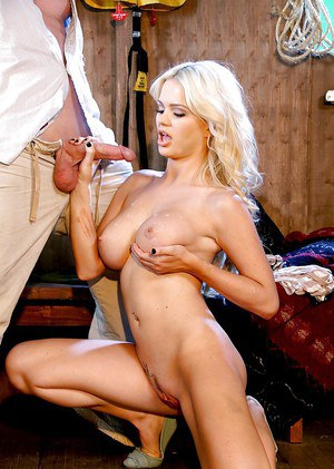 Blonde pornstar Alexis Ford jerking dick after riding in cowgirl position