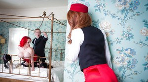 Redhead bellhop Ella Hughes joing Jasmine James for threesome in hotel room