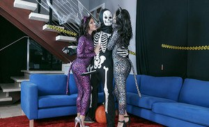 Abby Lee Brazil & Adriana Chechik fuck the Grim Reaper at Halloween party