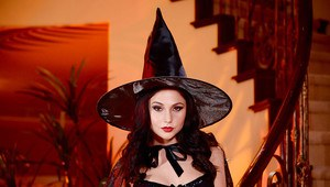 Brunette wife Ariana Marie modeling in witches garb before spreading pink twat