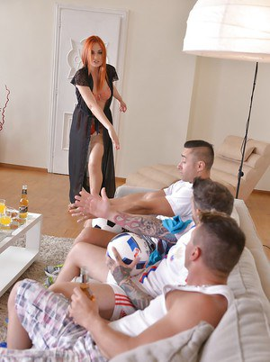Redhead chick Eva Berger taking anal from 3 guys with creampie finale