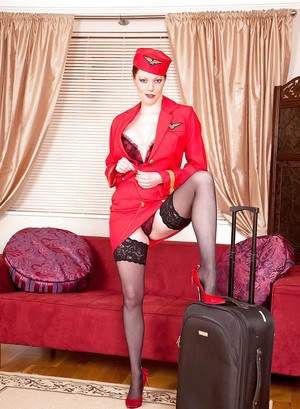 European airlane attendant Holly Kiss masturbating in lingerie and stockings
