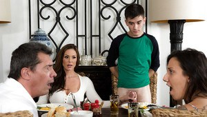 Horny cougar Kendra Lust sucking and fucking younger man on dinner table