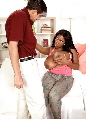 Fat ebony babe with huge tits teases her stud with her tits and fucks hard