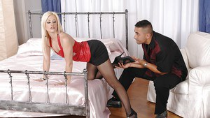 Hot blonde chick Jessie Volt having her feet licked before giving footjob