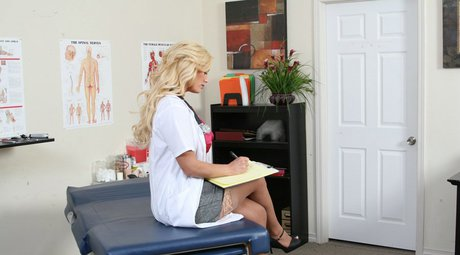 Chesty doc in stockings Shyla Stylez lures her well hung patient
