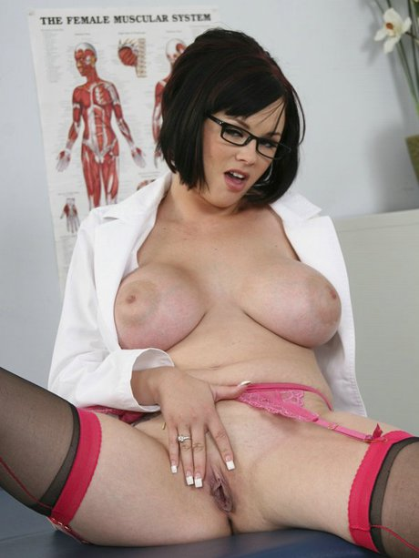 Immense titted medic milady in uniform Katie Kox undressing in the polyclinic